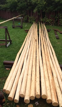 Wooden round long straight pole stick 24f. Only one left. Your offer? Innisfil, L9S 2E2