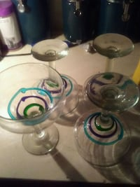four clear-teal-and-purple wine glasses Lafayette, 70501