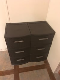 two brown plastic 3-drawer dressers