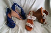 pair of blue-and-brown wedge sandals Pompano Beach, 33064
