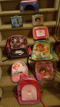 Back packs and lunch boxes five each