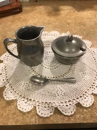 Vintage Pewter Cream and Sugar Johnstown