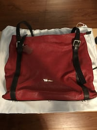 Red Leather Handbag by Valentina Markham