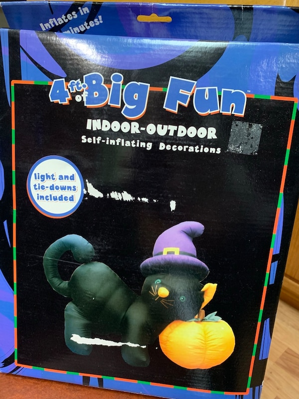 Halloween Decorations 4 Tall Lighted Inflatable Black Cat With Pumpkin