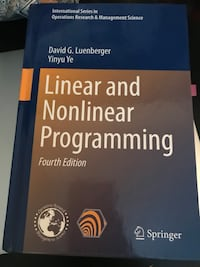 Linear and Nonlinear programming book 伦敦, N6G 1G5
