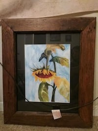 Sunflower painting framed College Station