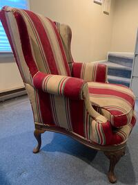 Red and gold striped wingback chair Bethesda, 20817