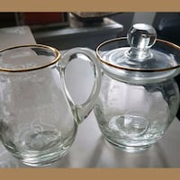 24kt Italian etched creamer and sugar.  Whitby, L1N 8X2