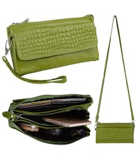 Women's Large Capacity Genuine Leather Smartphone Wristlet Clutch with Shoulder Strap Apple Green brand new  Hamilton, L8W 2M4