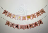 Happy 16th Birthday Banner - Pink n Gold Miami, 33175