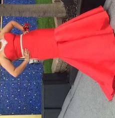 women's red strapless gown dress