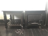 Two black end tables tv stand from Cardi's  Providence, 02903