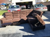 7 ft. Brown sectional couch w/recliner, chase lounge & storage Long Beach
