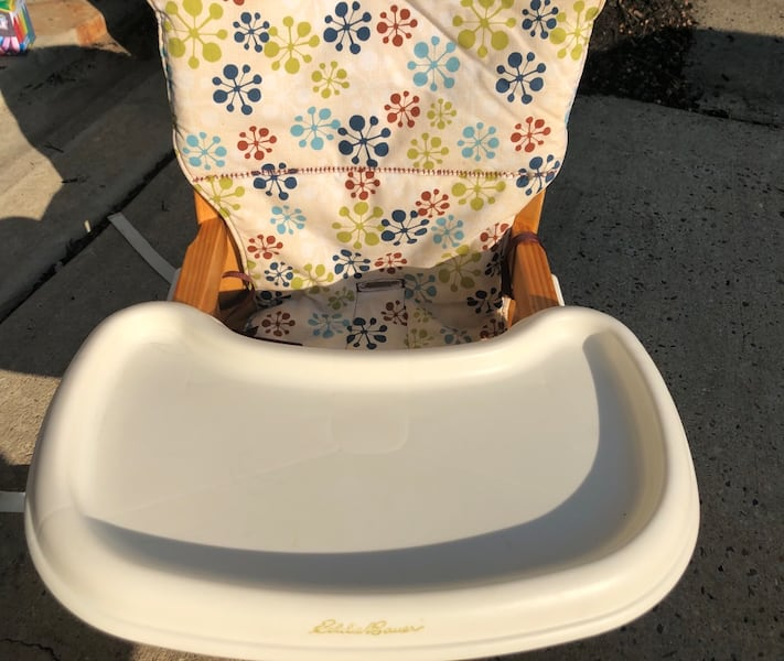 Eddie Bauer chair top high chair with custom made chair pad/cover 24573dc4-6204-45a0-a502-4ee81da5a151