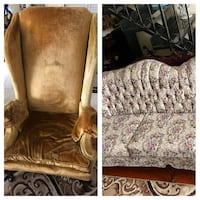 2 mustard velvet chairs and couch and love seat Annandale