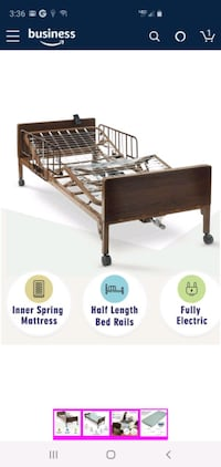 Delta Electric Hospital Bed with innerspring Mattress and Half Rails