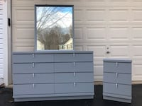 Solid Wood 8 Drawer Long Dresser With Mirror and Nightstand Gray With White Handles  Manassas, 20112