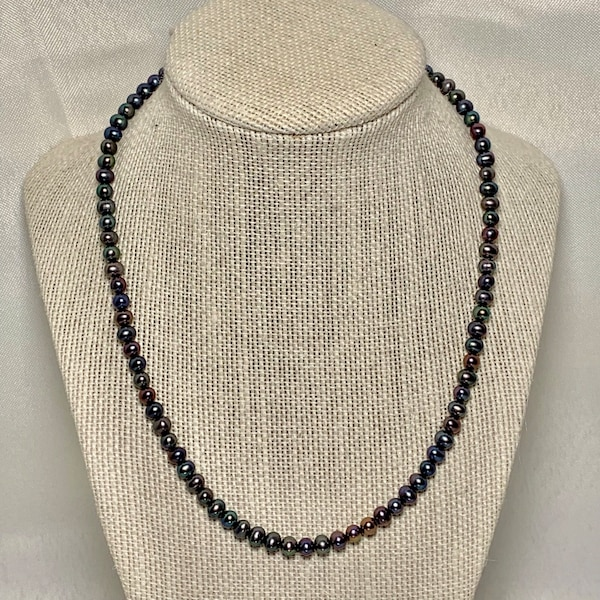 Genuine Black Pearl Necklace with 10k Gold Clasp c0a264a0-0899-487b-ae40-ac6eed1e0f63