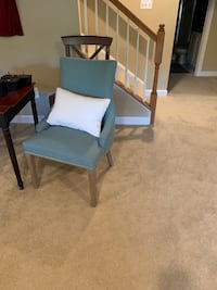 Blue accent chair.