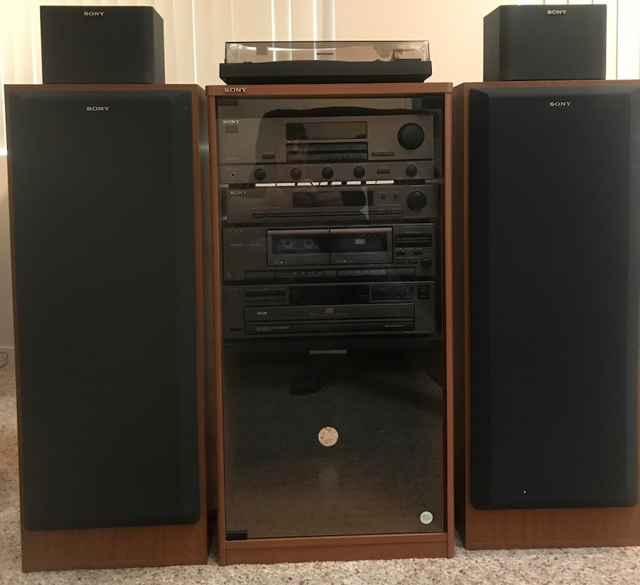 Superieur Sony Stereo System And Cabinet Sony Components Five Disc CD Player Dual  Cassette Player Digital Synchronizer