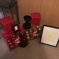 It's Christmas in July! 3 pottery barn candle holders, 3 pottery barn stocking hangers, 1 picture frame and 2 sets of Christmas ornaments with 84 beautiful ornaments in each package   Chicago, 60616