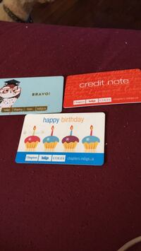3 chapters gift cards red one has 45 birthday one 57.85 brove has 68.70 on it Toronto, M4E 3W8