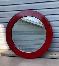 Red Lacquered Beveled mirror
