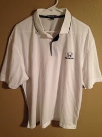 onda Men's Large White Polo Shirt 100% Polyester Sport-Tek Port Authority. Good condition only worn a couple times. 29' length 22' pit to pit Cathedral City, 92234