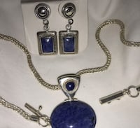 Lapis Necklace and post earrings Herndon, 20170