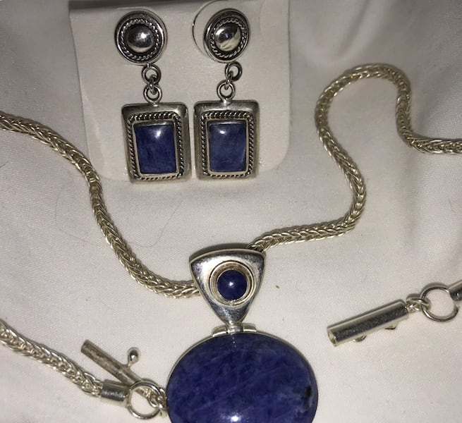 Lapis Necklace and post earrings c52962cc-bf80-4437-a2df-689049fe5c1a