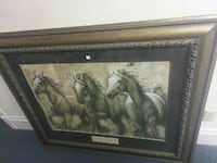 three horses painting with brown wooden frame