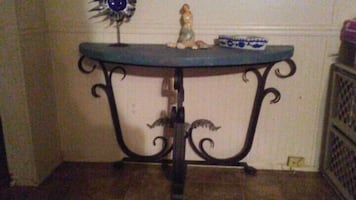 Entry table reclaimed wood top and metal frame