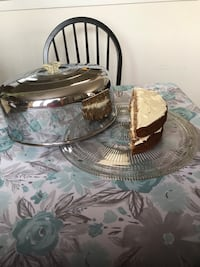 Glass Cake Plate with Crome Metal Dome Skokie, 60077