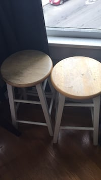 two round brown wooden stools San Francisco, 94117