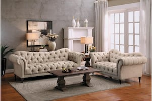 3 PCS TUFTED POLYESTER SOFA, LOVESEAT AND CHAIR
