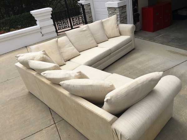 White fabric sectional sofa