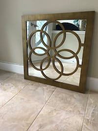 BRONZE COLOR WOOD MIRROR WITH ROUND CIRCLES ( pickup Tampa Palms )  Tampa, 33647