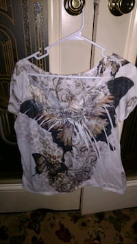 women's white and black floral blouse Asheville