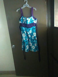 teal, purple, and white floral spaghetti strap mini dress Augusta, 30901