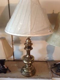 gray table lamp base with white lampshade