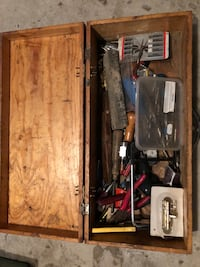 Old Swedish wood toolbox and miscellaneous tools Bolton, L7E 2L3