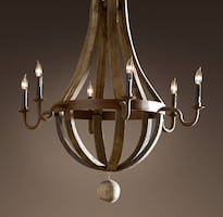 RESTORATION HARDWARE WINE BARELL CHANDELIER 32""