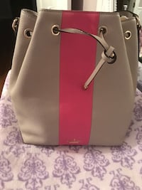 women's brown and pink leather tote bag