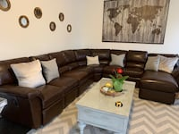 Leather Lay-Z-Boy recliner Sectional —> see more pics