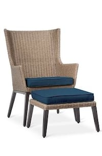 Wicker Patio Chair and Ottoman