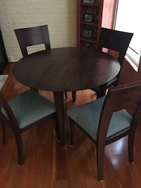 Custom condo-size contemporary dining table and four matching chairs