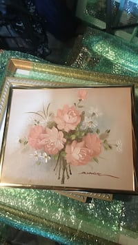 brown wooden framed painting of flowers Daly City, 94015
