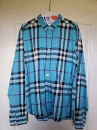 Teal/Blue Burberry long sleeve button up XL  Freehold, 07728