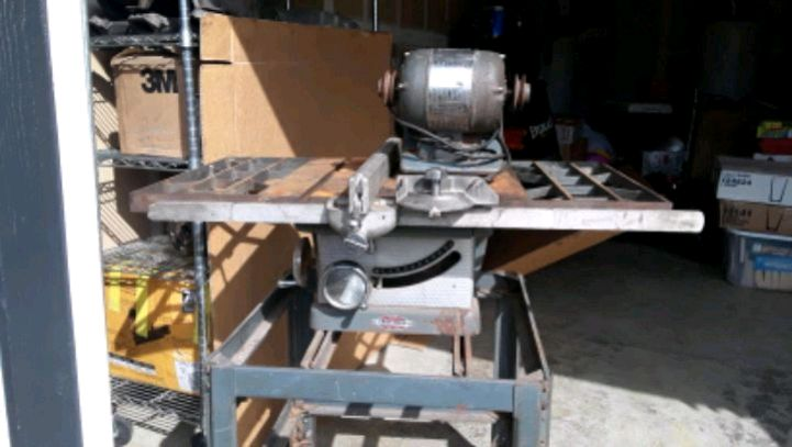 Photo 1950's Craftsman Table Saw W/ Electric Motor attachment.