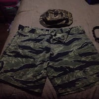 Original Vietnam war tiger stripe  boonie hat and navy seal shorts  Rocky Ridge, 21778